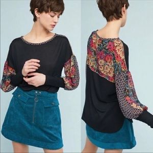 Anthropologie Tiny Raye Sheer Floral Top Black S